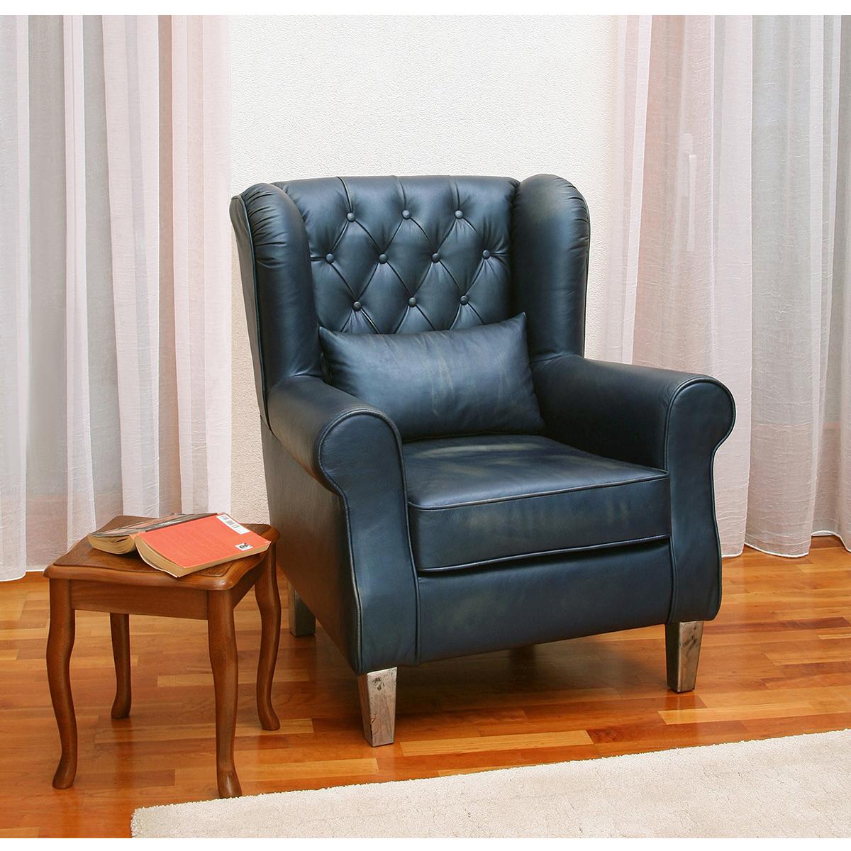super eleganter leder ohrensessel pr sident moebel trend 24. Black Bedroom Furniture Sets. Home Design Ideas